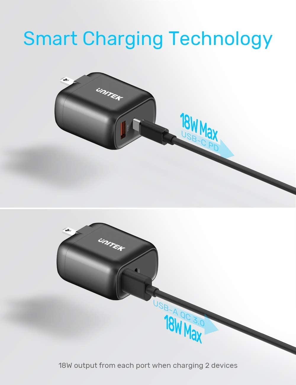 Tablet and More Unitek 18W PD and QC 3.0 Wall Charger with Foldable Plug for iPad Pro Galaxy S10//S9 USB C Charger Pixel 3//3XL iPhone 11//11 Pro//XS//Max//XR//X