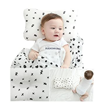Baby Pillow MALOMME Infant Pillow Soft Baby Head Shaping Pillow for Sleeping Organic Cotton Washable 3D Breathable Air Mesh Protection for Flat Head Syndrome