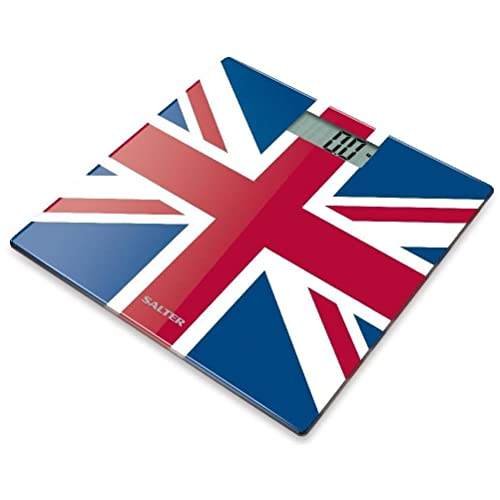 Salter Electronic Bathroom Scales, Toughened Glass Body, Measure Weight Metric / Imperial, Easy to Read Digital Display, Instant Precise Reading with Step-On Feature, 15Yr Guarantee - Union Jack