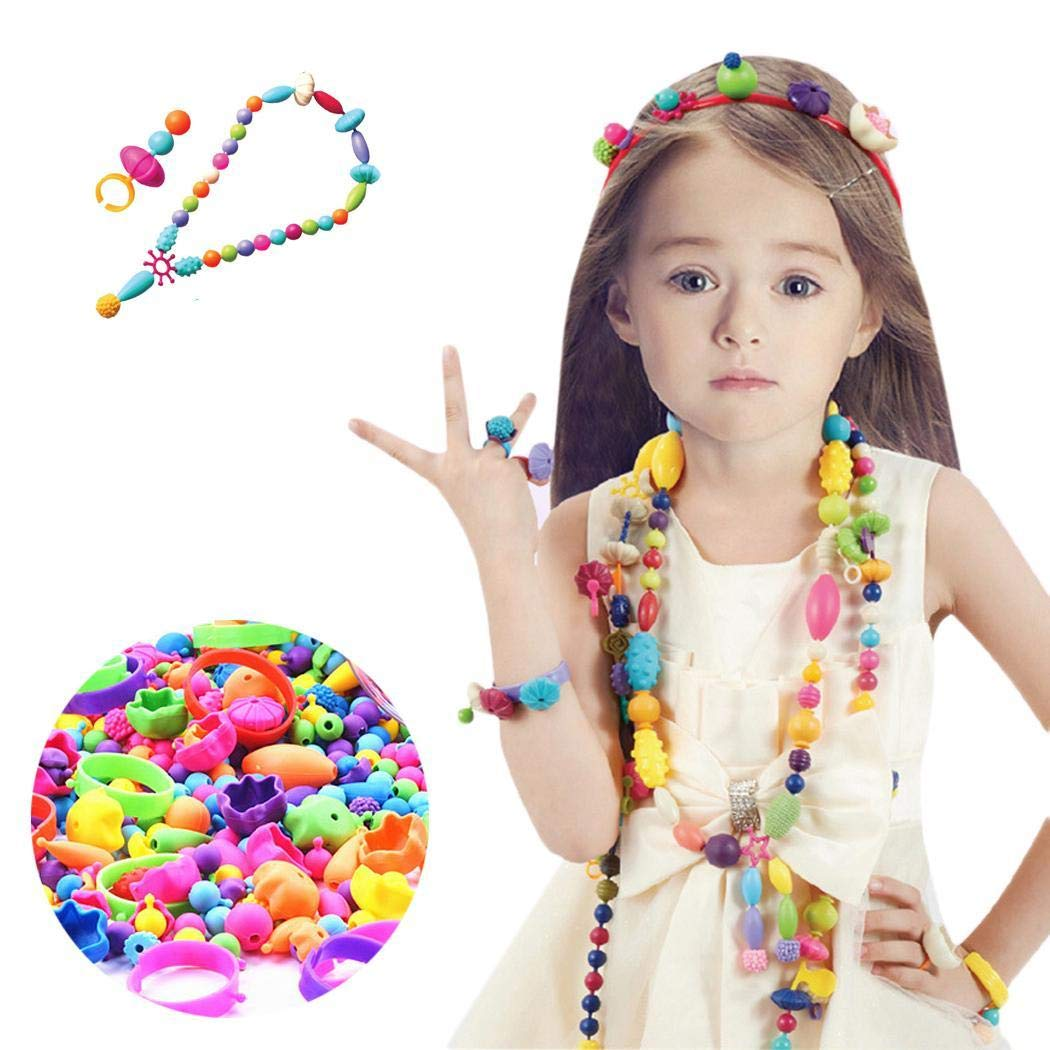 Alokie 70/260 Pcs Girls Handmade Necklace Earrings Bracelets Rings with Storage Bucket, Creative DIY Jewelry Kit for Kids Toddlers, Idea Christmas Gift Toys for 4-12 Year Old TYP 1)