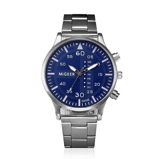 Logobeing Reloj de Pulsera de Cuarzo Analógico de Acero Inoxidable Cristalino de Hombre Elegante Barato (Azul): Amazon.es: Relojes
