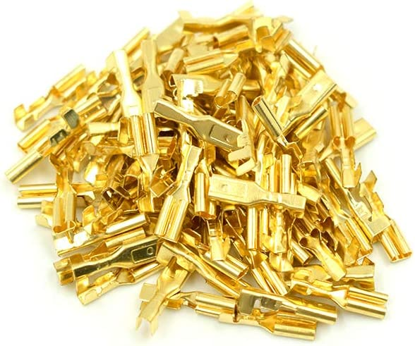100 Sets Cyful Motorcycle Bullet Connectors 2.8mm Brass Male Terminals with Covers Golden