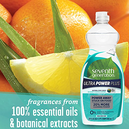 Seventh Generation Ultra Power Plus Dish Liquid Soap Fresh Citrus Scent 22 oz Pack of 6 Packaging May Vary