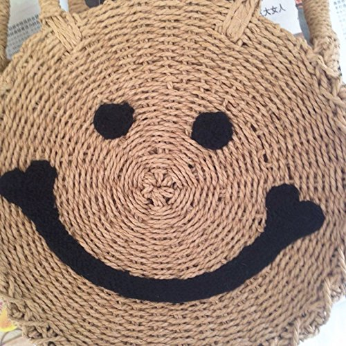 Purse Shoulder Handbags Summer Bag Straw Weave Bag Beach Round Light Crossbody and Brown Smile Women qwIg4gzP