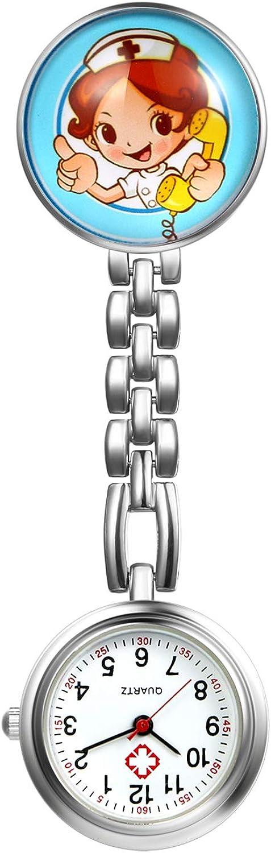 LANCARDO Reloj de Bolsillo Médico Colgante de Enfermera Prendedor Broche Cuarzo Original Multicolor con Clip Uniforme Paramédico Regalo Gracias Doctor Mujer Niña – 5PCS