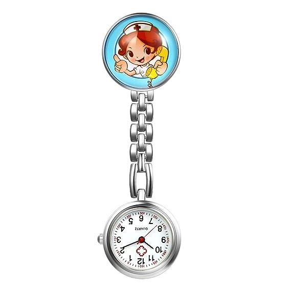 LANCARDO Reloj de Bolsillo Médico Colgante de Enfermera Prendedor Broche Cuarzo Original Clip Uniforme Paramédico Regalo Gracias Doctor Mujer Chica Niña: ...