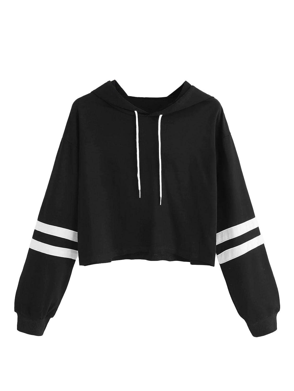 SweatyRocks Womens Letter Print Color Block Long Sleeve Crop Top Hoodies Pullover Sweatshirt