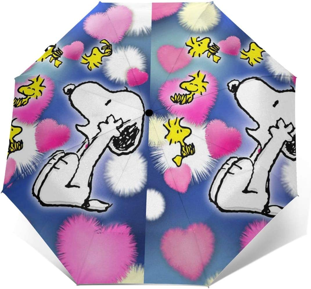 Windproof Travel Umbrella Snoopy Pink Love Compact Folding Umbrella Automatic Open//Close