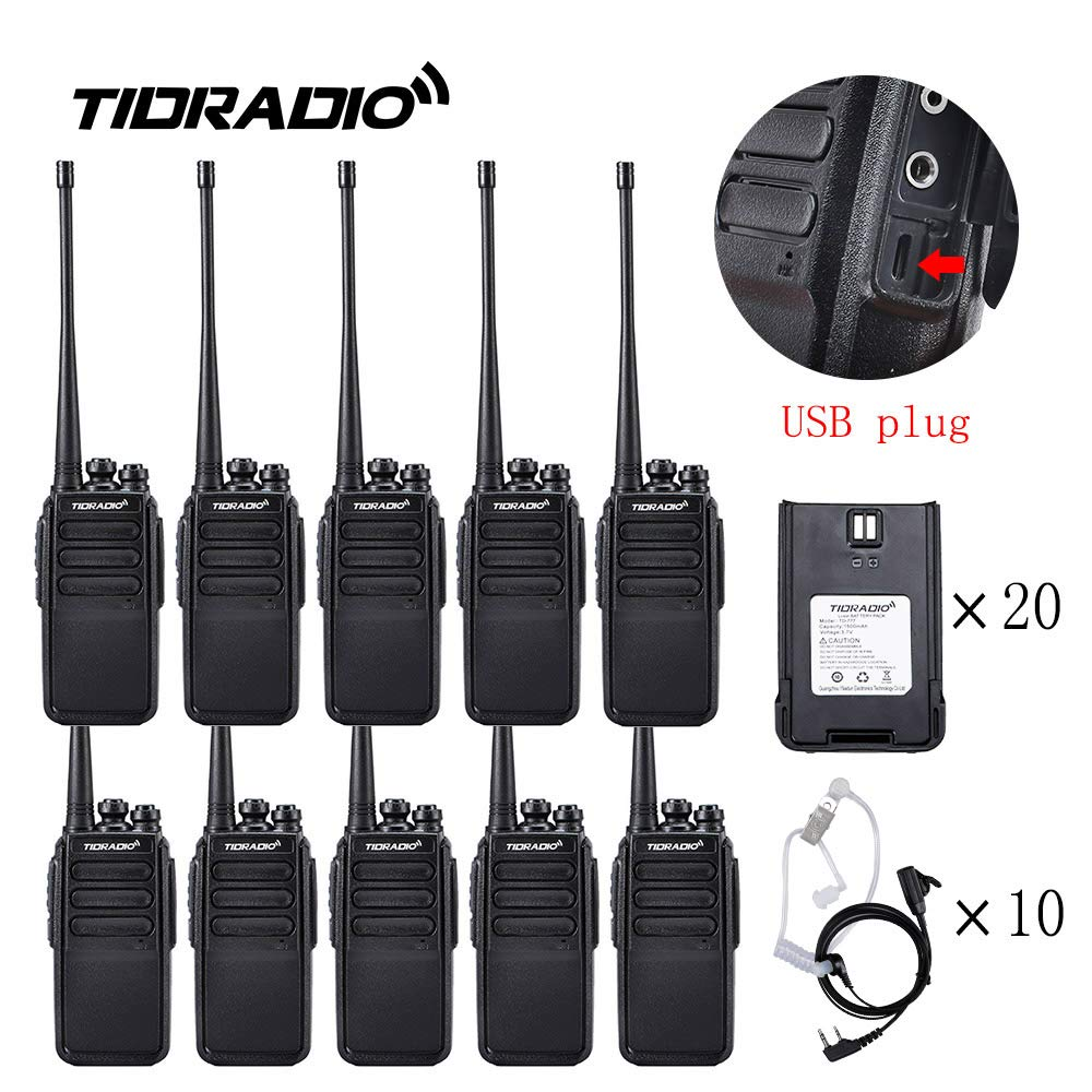 Walkie Talkies Rechargeable 2 Way Radio Micro USB Charge Plug 10 Walkie Talkies for Adults 10pcs by TIDRADIO (Image #1)