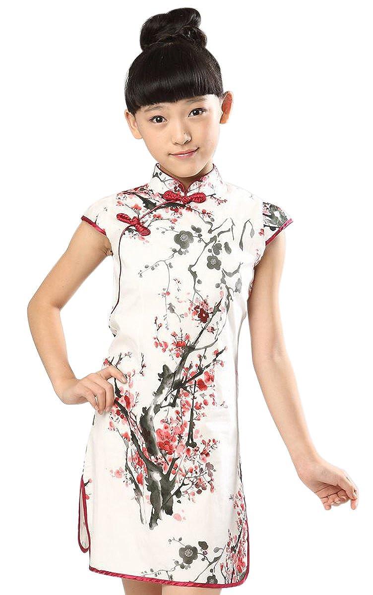 62007acb4583 Amazon.com: Suimiki Girls Kids China Style Chinese Qipao Floral Cheongsam  Summer Mini Dress: Clothing