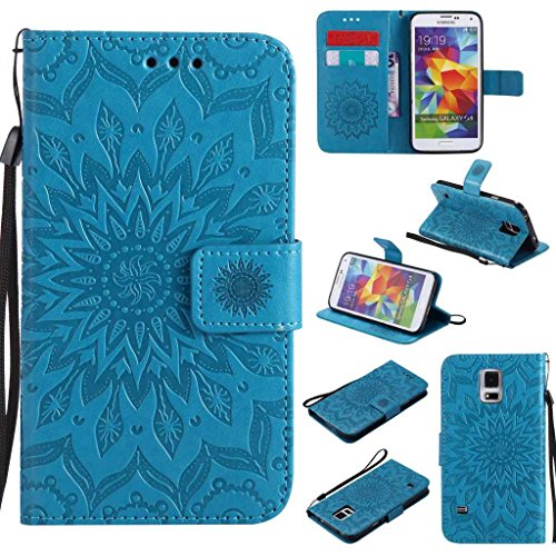 Galaxy S5 Case, KKEIKO® Galaxy S5 Flip Leather Case [with Free Tempered Glass Screen Protector], Shockproof Bumper Cover and Premium Wallet Case for Samsung Galaxy S5 (Blue)