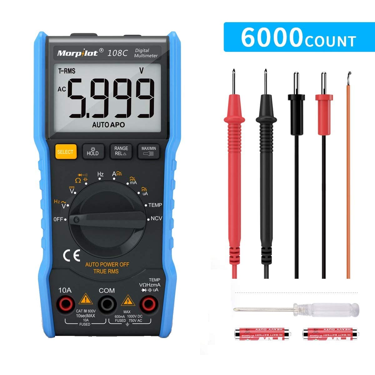 Digital Multimeter,TRMS 6000 Counts Manual and Auto Ranging, Amp Volt Ohm DC/AC Current & Voltage Multimeter, NCV, Live Line, Diode, Resistance, Frequency, Capacitance, Temperature, Test Leads. by Keenstone