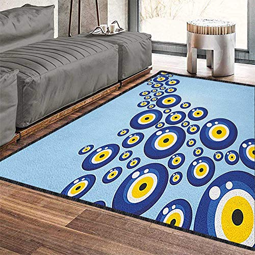 Evil Eye Colorful Area Rug,Diagonal Evil Eye Pattern Lively Protection Symbol Turkish Cultural Waterproof and Easy Clean Blue Pale Blue Yellow 71