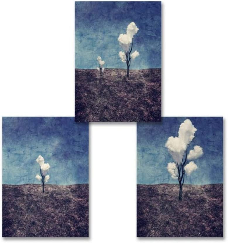 YJYD Paisaje Abstracto Plantas Decoración Violeta Impresiones de Lienzo Pinturas Carteles Impresiones Cuadros de Pared para Sala de Estar Decoración del hogar-40x60cmx3 Piezas Sin Marco