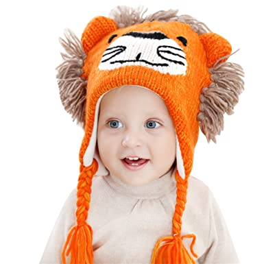 c894893a63b IMLECK Cute Lion Head Shape Toddler Warm Winter Knit Hat with Chin Strap  Yellow