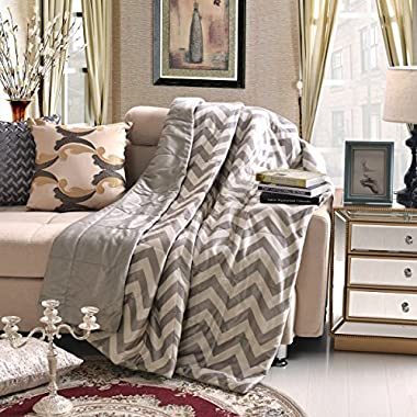 Luxurious Grey and White Oversized Chevron Throw Blankets 60  x 70  Super Comfy, Soft and Plush