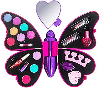 Kit Maquillaje Niña Tocador Niña Juguete Maletin Maquillaje Infantil Set De Maquillaje para Niña Estuche De Maquillaje Kits De Paleta De Maquillaje para Niña Caja De Regalo De Mariposa Cosmética: Amazon.es: Hogar