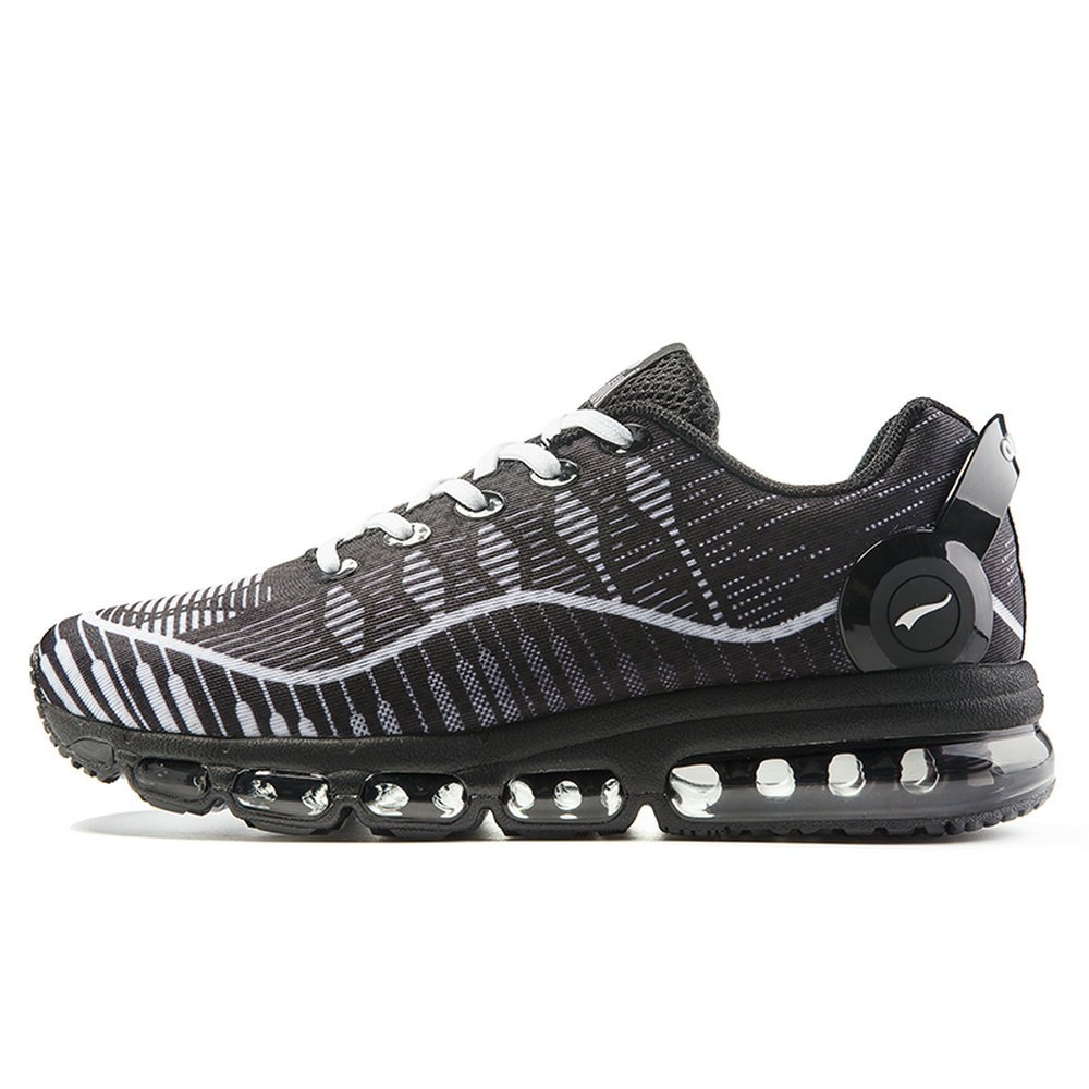 ONEMIX Mens Air Cushion Walking Running Shoes, Casual Sneakers for Men Black US 10