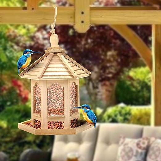 LAOZI Comedero para pájaros, estación de alimentación para pájaros, casa suspendida Estación de Alimentos, Restaurante para pájaros: Amazon.es: Jardín