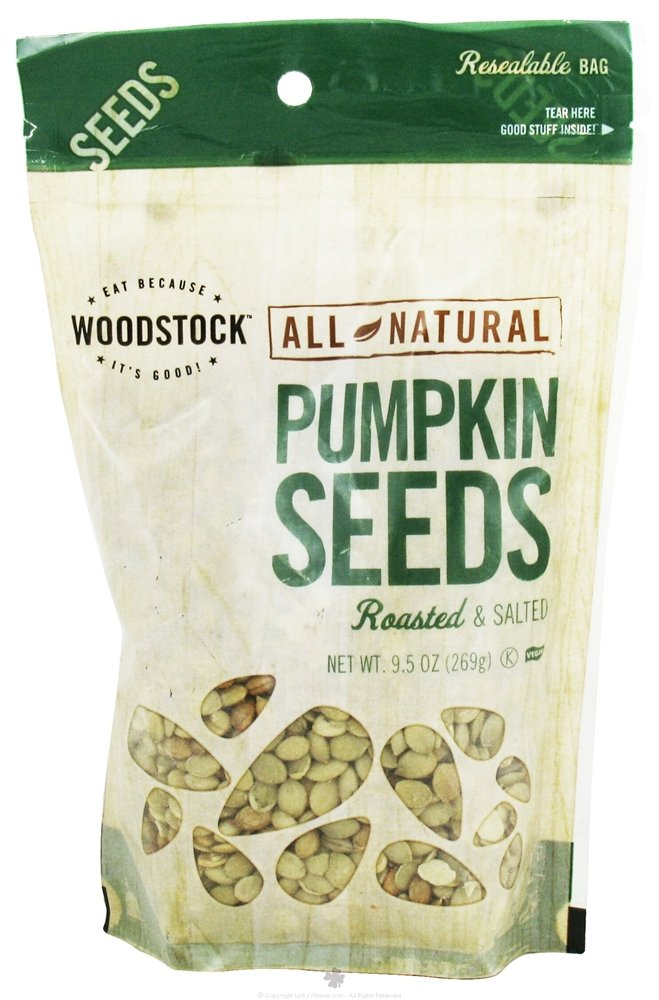 Woodstock Farms All Natural Roasted and Salted Pumpkin Seed, 9.5 Ounce - 8 per case.