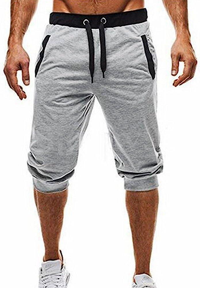 Pantalones Cortos de los Hombres de los Deportes Pantalones para Hombre Deportes Bolsillos Holgados pantal/ón Deportivo Casual Bermuda Jogging Bolsillos Deportivo Casual MMUJERY