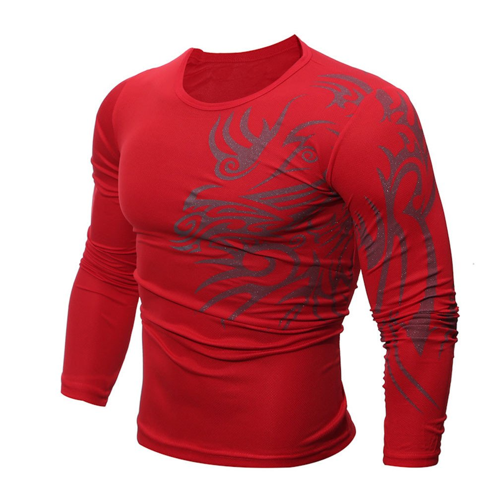 Realdo Mens Modal Slim Long-Sleeved Print Solid Plain Top T-Shirt Clearance