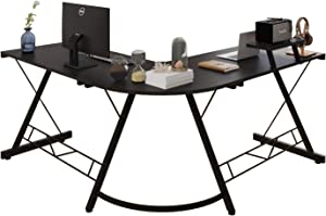 L Shaped Table, Home Office Computer Desk with Small Desktop Shelf, Writing Desk with Round Fillet Edge Desks for SOHO Gaming Workstation with Monitor Stand (BlackWoodGrain)