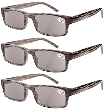 80f38cdda94 Eyekepper Spring Hinge Striped Reading Glasses (3 Pairs) Men Sun Readers  Grey Lens +0.5  Amazon.co.uk  Health   Personal Care