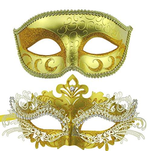 Couple Masquerade Metal Masks Venetian Halloween Costume Mask Mardi Gras Mask (Gold+Gold)