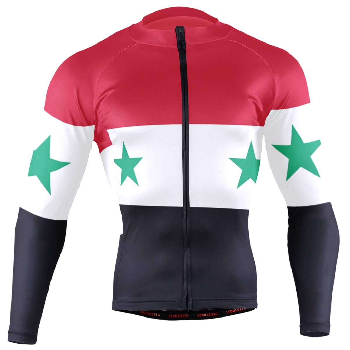 CHINEIN Men's Cycling Jersey Long Sleeve with 3 Rear Pockets Shirt Syria Flag