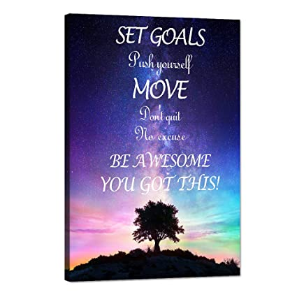 Motivational Canvas Wall Art Inspirational Quotes Posters Set Goals Push  Yourself Don\'t Quit Pictures Painting HD Print Artwork for Living room  Office ...
