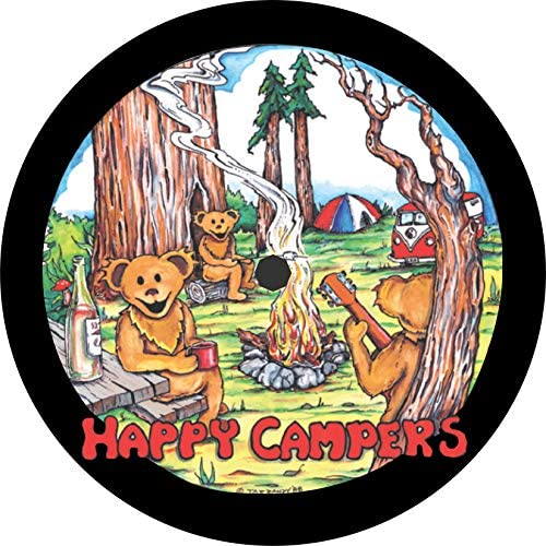 TIRE COVER CENTRAL Happy Campers Dancing Bears Music Spare Tire Cover Select tire Size Back up Camera in MENU Custom Sized to Any Make Model 255 75r17 Back up Camera Opening