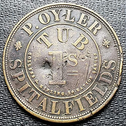 British P. Oyler Spitalfields Tub 1 Shilling Token - Rare - 32mm - ()