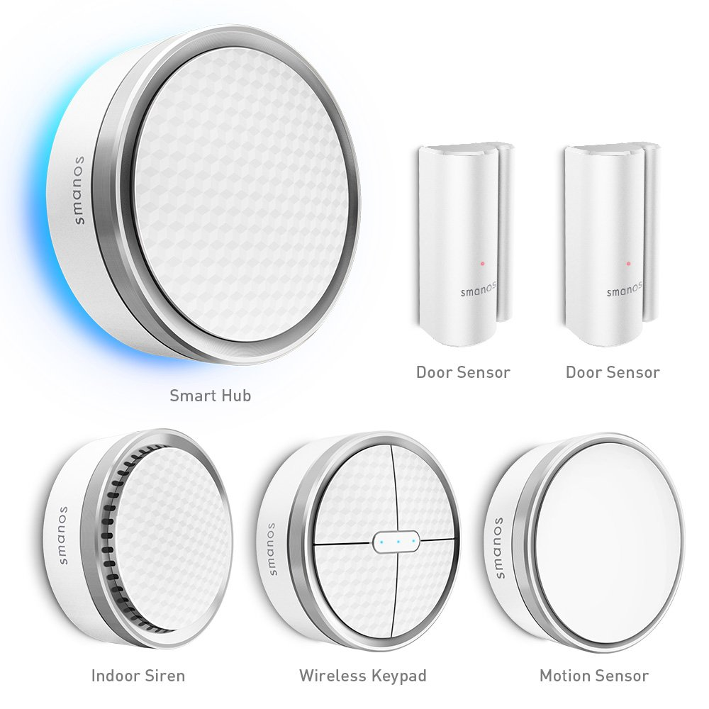 Smart Home Sistema de alarma radio smanos K1. Seguridad Para Casa y Negocios. Alarma Kit Incluye Smart Hub, sirena interior, detector de movimiento, para puerta/ventana Sensores, Keypad. compatible con Amazon Alexa