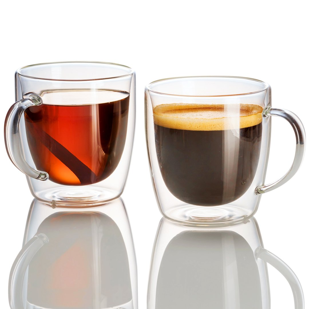 4 Jecobi /élite Strong Double Wall Glass 14 oz coffee cups