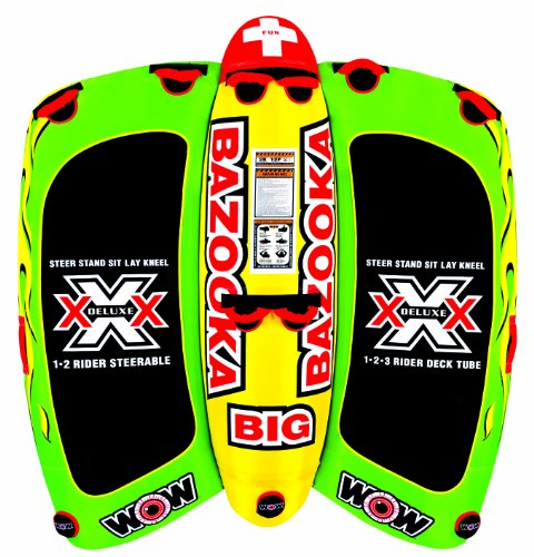1 Towable Ski Tube (WOW World of Watersports 13-1010, Big Bazooka 1 to 4 Person, Inflatable Towable Deck Tube, Steerable)