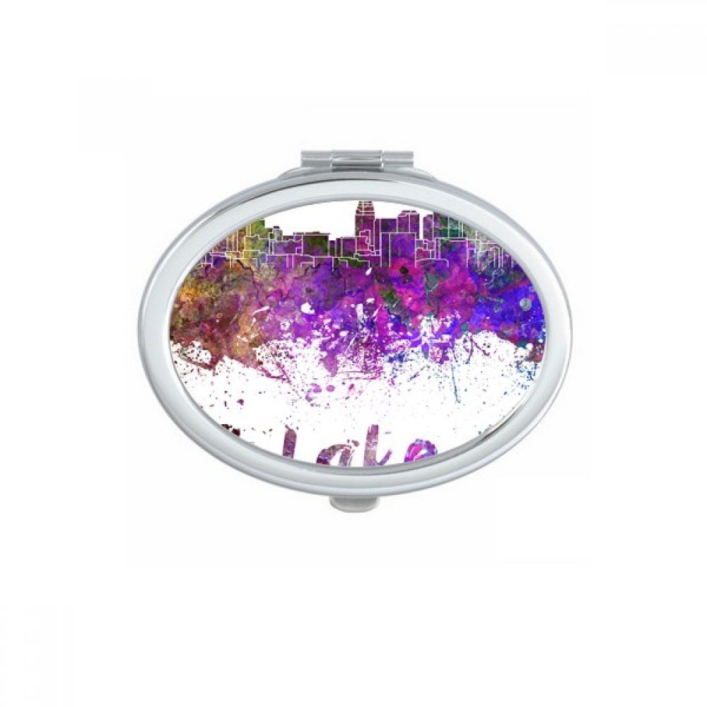Salt Lake City America Country City Watercolor Illustration Oval Compact Makeup Pocket Mirror Portable Cute Small Hand Mirrors Gift