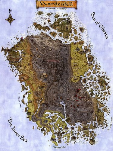 Morrowind Vvardenfell Map Print Poster