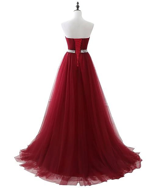 e561ffb61 Beauty-Emily sin Tirantes de múltiples Capas de Lentejuelas sin Mangas de  Encaje de Lujo Quinceañera Vestidos de Color Rojo Vino