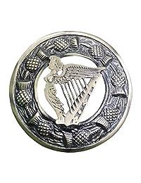 """AAR Men,s Scottish Irish Harp Kilt Brooch Fly Plaid Antique Finish 3"""" (7cm) diameter"""