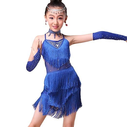 1e59da3362f7 Kids Girls Tassel Halter Latin Dance Dress Rumba Samba Dance Costume (blue,  4)