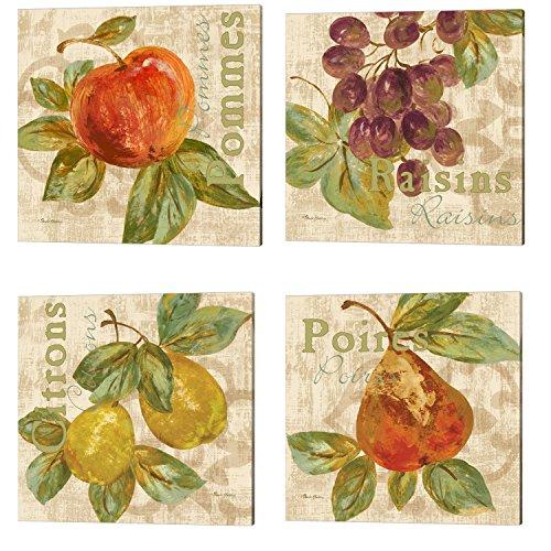 Rustic Fruit by Pamela Gladding, 4 Piece Canvas Art Set