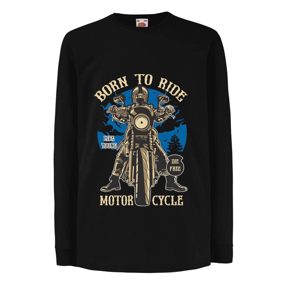 Nacido para Montar EN Moto Die Free Lemas inspiradores Ideas de Regalos para Ciclistas lepni.me Ni/ños//Ni/ñas Camiseta Live Young