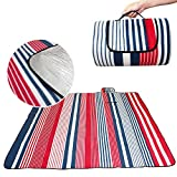 Eleoption Waterproof Extra Large Picnic Blanket And Tote Naturalrays Picnic Mat Lightweight Fit 4-6 Persons Or Dogs For The Beach, Camping On Grass Outdoor Indoor (L: 79x79Inch, Blue&Red)