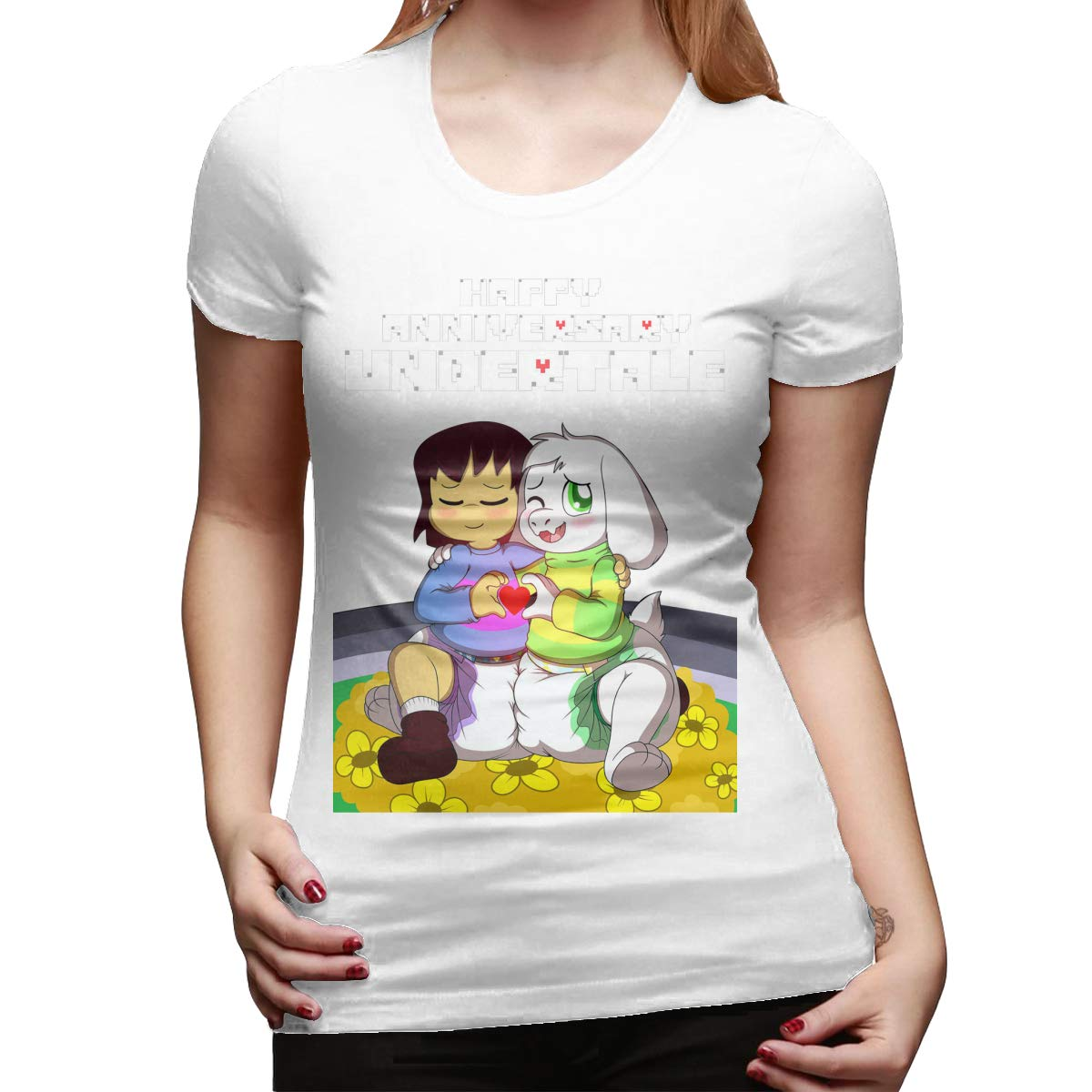 KunYuHeng Personalized Undertale/_Anniversary O-Neck Funny Tshirts for Lady Black