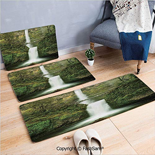 3 Piece Flannel Bath Carpet Non Slip Falls of Rivendell Multnomah Waterfall Oregon with Hobbit Elf Path Bridge Scene Image Front Door Mats Rugs for Home(W15.7xL23.6 by W19.6xL31.5 by W19.6xL59)