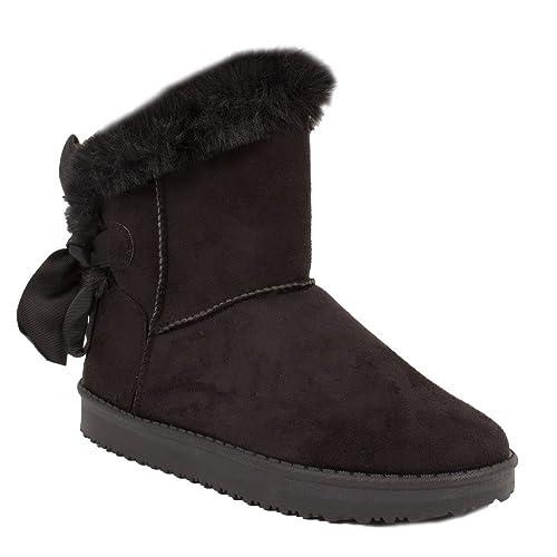 34e708a455f15a Primtex Bottes fourrées Femme Noir en Fourrure synthétique avec Ruban Satin  Boots neige-36