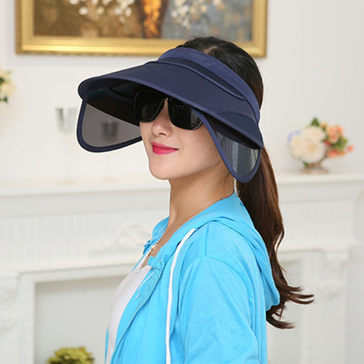 Eforstore New Chic Pure Color Wide Brim Sunhat Hat with Retractable Visor