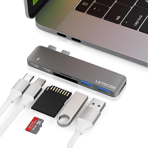 "Aluminum USB-C Hub Adapter Dongle for MacBook Pro 13"" and 15"" 2016/2017, Letscom Thunderbolt 3 Dock, TF/SD Card Reader, TB3, USB-C, 2 USB 3.0 Ports, Designed for MacBook Pro, Grey"