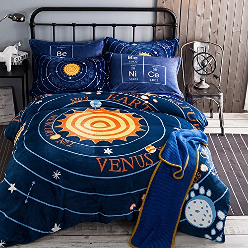 Deep Sleep Home 3pc 100% Flannel Duvet Cover Set, Printing Cartoon Sun Solar System, Blue Color, Full Size, Reversible Flannel Bedding Set, Zipper Close (Full, Solar System) by Deep Sleep Home